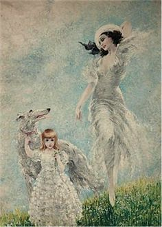 Icart, Louis (B,1888)- Woman & Child w Borzoi -2b