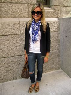 white shirt + black sweater + leopard loafers - works!  Another color on the scarf....
