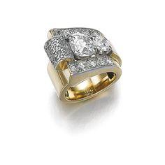 Diamond ring, 'Coup de vent', Boucheron, 1940s | lot | Sotheby's