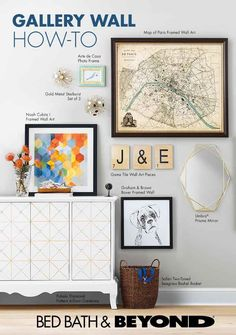"""""""1. Lay out your gallery wall on the floor before taking to the walls.  2. Trace each piece of art onto kraft or tissue paper, then tape the paper on the walls to make them look the way your gallery wall will look -- this also makes nail placement easier!  3. Hammer nails into the wall, hang up art and admire your gallery wall."""""""