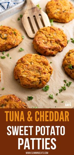 Tuna Sweet Potato Cheddar Patties - make these delicious patties with a few simple ingredients for a tasty lunch at home or on the go. #tuna #sweetpotato #slimmingeats #weightwatchers #glutenfree #cheddar