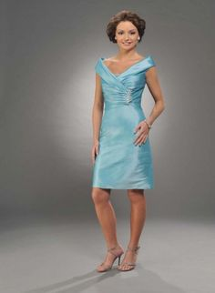 Blue Column Cap Sleeves Knee Length Prom Dresses With Beading and Draped