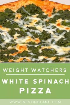 Weight Watchers White Spinach Pizza Recipe with olive oil, vidalla onion, sugar, ricotta cheese, parmesan cheese, and basil. A quick and easy Italian dinner recipe with 6 WW Freestyle Points (Blue Plan) and 6 Smart Points. Weight Watcher Dinners, Weight Watcher Taco Soup, Weight Watchers Vegetarian, Poulet Weight Watchers, Weight Watchers Shrimp, Plats Weight Watchers, Weight Watchers Pizza, Spicy Chinese Chicken Recipe, Herb Chicken Recipes