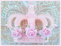 Shabby Chic Pink Rose Princess Crown Ornament Christmas Decor Package Tie On Pink Princess Decor Girls Room Pageant Nursery Baby Shower Gift