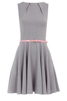 gray + pink A line dress