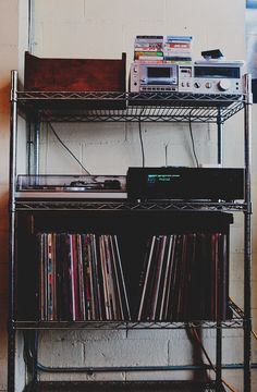 Great set-up idea for my boyfriend's stereo and speaker equipment, music and mine & our kids' movies. My New Room, My Room, Vinyl Storage, Record Storage, Future House, My House, Music Is My Escape, Dream Apartment, Record Collection