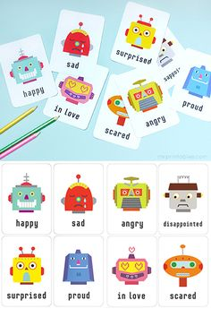 Printable Emotion Flash Cards - available in English, French, Dutch, Arabic   Free printables at Mr Printables