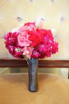 Bridesmaid Bouquets for a pink and grey wedding