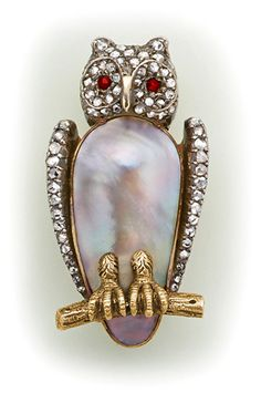 Abalone pearl, diamond, ruby, silver and gold/ circa 1900