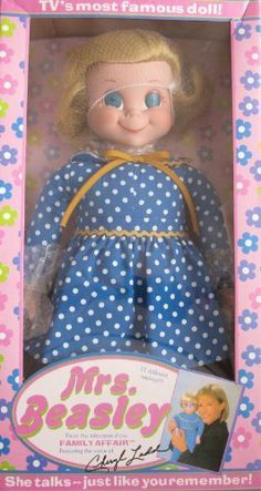 """MRS. BEASLEY 20"""" TALKING Collectible DOLL From TV Show FAMILY AFFAIR (2000 Ashton Drake/Childhelp) by Ashton Drake/Childhelp USA. $279.95. TV's most Famous Doll! Mrs. Beasley From the Television Show Family Affair is a 2000 Childhelp USA/Ashton Drake production. Doll's Box is approx. 22-1/2"""" x 11-1/4"""" x 5-1/2"""". Mrs. Beasley Doll is approx. 20"""" tall fine quality vinyl Doll with blonde hair & blue eyes. Doll comes with a pair of black square frame Eye Glasses, Insert Cards, ..."""