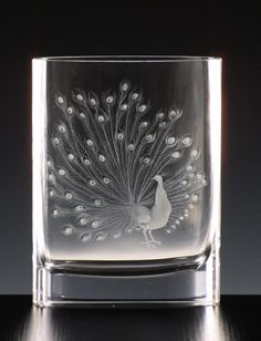 Nature 2268, hand cut and engraved vase, motif The Peacock » Moser glassworks - Luxury Bohemian Crystal Glass