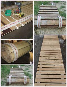 DIY Pallet Wood Roll-Up Sidewalk Tutorial #diypallet