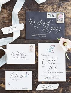 Modern navy blue invitation suite