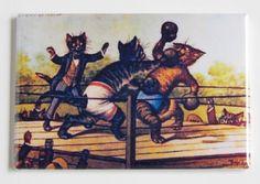 Boxing Cats Fridge Magnet by BlueCrabMagnets on Etsy https://www.etsy.com/listing/79085652/boxing-cats-fridge-magnet