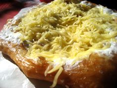 Lángos - Must try in Hungary. variety of toppings, usually a breakfast food