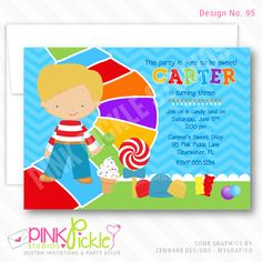 Items similar to Candy Road Boy Birthday Party Invitations, personalized thank you cards, birthday invitations, party invitations / on Etsy Personalised Party Invitations, Personalized Thank You Cards, Kids Birthday Party Invitations, Photo Invitations, Custom Invitations, Baby Shower Invitations, Candyland, Boy Birthday, Printable