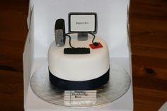 Computer Cake BlackCatBakery Computer Cake, Computer Theme, 13 Birthday Cake, Retirement Cakes, Cake Games, Cake Business, Take The Cake, Fondant Cakes, Celebration Cakes