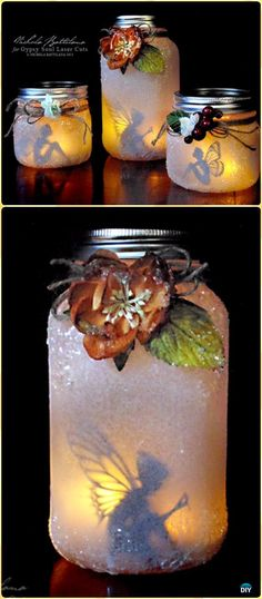 DIY Glitter Mason Jar Fairy Lantern Tutorial Vdieo - DIY Fairy Light Projects & Instructions DIY Fairy Light Craft Projects Ideas and Instructions for home and garden decoration.: fun and whimsical fairy light with recycled jars and plastic bottles Mason Jar Sconce, Mason Jar Lighting, Mason Jar Fairy Lights, Diy Fairy Jars, Fairy Light Jar, Fairy In A Jar, Fairy Light Decor, Mason Jar Lanterns, Mason Jar Projects