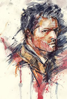 Castiel - Supernatural by Alice X. Supernatural Drawings, Supernatural Fan Art, Supernatural Wallpaper, Destiel, She Likes, Film Serie, Misha Collins, Superwholock, At Least