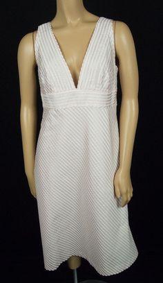 J CREW 100% Silk Dress 12 L Pink White Seersucker Deep Plunging Neckline & Back