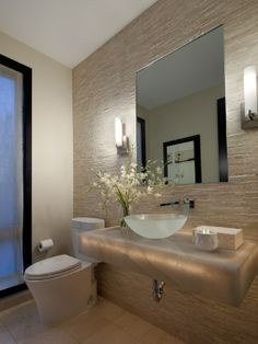 frameless mirror, sconces