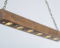 Rustic Industrial Modern hanging reclaimed wood beam light