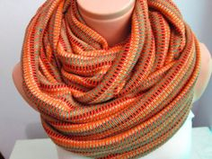 Orange And Mixed Colors Tricot Scarf,Shawl Circle Scarf,Loop scarf,Gift Idea,Women Scarf,Scarf,Scarves