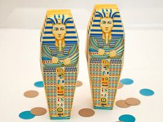 Egyptian Sarcophagus Favor Box - DIY Printable Egyptian Mummy Box PDF via Piggy Bank Parties The artwork is inspired by a real sarcophagus!