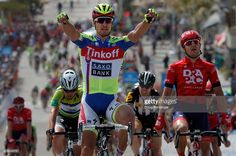 Peter Sagan of Slovakia riding for Tinkoff-Saxo celebrates hsi victory over Wouter Wippert of the Netherlands riding for Drapac Professional Cycling in second place and Mark Cavendish of Great Britain riding for Etixx - Quick-Step in third place in stage four of the 2015 Amgen Tour of California from Pismo Beach to Avila Beach on May 13, 2015 in Avila Beach