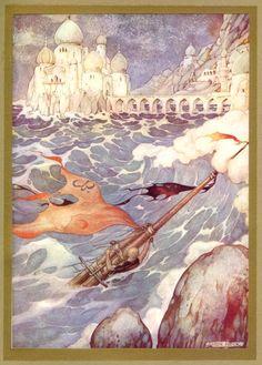 Marzaoeân shipwrecked when he travels to Khaledân  to find Kamaralzamân - 1001 Nights
