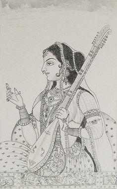 Sketchbook Drawing Ragini - Ragini (Reprint on Paper - Unframed) Rajasthani Painting, Rajasthani Art, Kalamkari Painting, Madhubani Painting, Mysore Painting, Mughal Paintings, Indian Art Paintings, Pencil Art Drawings, Art Drawings Sketches