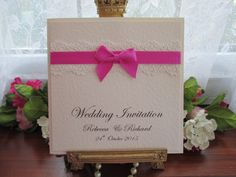 C0005f Boxed Ivory Lace Pearl Pocketfold Wedding Invitation