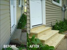 23 Ideas Wood Patio Steps From House Patio Steps, Outdoor Steps, Wood Patio, Backyard Patio, Concrete Patio, Outdoor Landscaping, Front Porch Steps, Front Porches, Porch Stairs