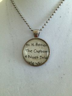 Harry Potter Book Page Pendant Necklace - Bezel Glass, Book Jewelry