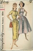 An original ca. 1957 Simplicity Pattern 2111.  Jr. Misses' and Misses' One-Piece Dress with Two Skirts: Both views of this coat-dress feature bodice with wide neckline and stand-away collar. Dress buttons from neck to hem. V. 1 has short set-in sleeves and sheath skirt with soft pleats at either side of waistline front, pockets in side seams and a back kick-pleat. Topstitching detail is featured. V. 2 is sleeveless and has softly pleated full skirt.