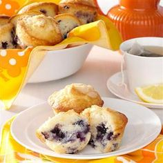 Sour Cream Blueberry Muffins Recipe -When we were growing up, my mom made these warm, delicious muffins on chilly mornings. I'm now in college and enjoy baking them for friends. —Tory Ross, Cincinnati, Ohio