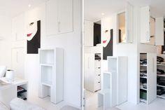 Par Stéphanie Rose-Tomasella.   http://deco.journaldesfemmes.com/interieur/un-appartement-a-la-carte/rangement-lit.shtml