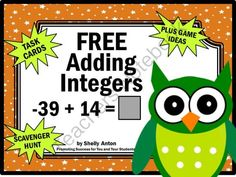 FREE Integers Addition Math Task Cards Positive and Negative Numbers Game from Promoting Success on TeachersNotebook.com -  (8 pages)  - FREE!!! Integers: Here are six printable integer task cards. Students must solve integer addition equations. Scavenger hunt directions, along with other games ideas, are provided. A student response form and answer key are also provided.