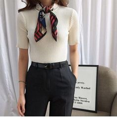 Minimalist black and white outfit for office with a scarf