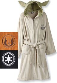 "Star Wars Bathrobe - Yoda  Choose a Star Wars persona—gentle Yoda, wise Jedi, ominous Galactic Emperor—and let whatever side of the Force you're feeling take over. Great fun as a gift to a Star Wars geek, each is well made with amazingly soft 100% cotton terry plus well-sewed details like Yoda's ears and the Emperor's creepy hood. Logo appliquÉ; one pocket; one size fits most with 43"" length. VL2782 Yoda. VL2802 Jedi. VL2822 Galactic Empire. $79.95"