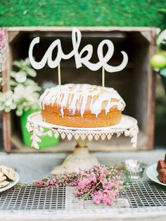 """cutout """"cake"""" cake topper, photo by Love by Serena, styling by Sarah Park Events http://ruffledblog.com/oatlands-plantation-wedding-inspiration #cakes #weddingcake #caketoppers"""