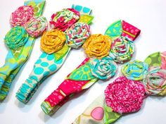 Lyons Lyons Butler fabric flower headbands by on Fabric Flower Headbands, Sewing Headbands, Cute Headbands, Diy Headband, Braided Headbands, Headband Pattern, Fabric Ribbon, Felt Fabric, Felt Flowers