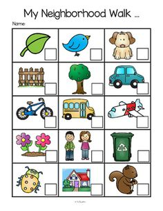 ***FREE***   This is a set of Neighborhood or Nature Walk recording pages for preschool, pre-K and Kindergarten.Give each child a clipboard, a marker and a recording page.   Included are: pictures without labels in color and b/w, pictures with labels in color and b/w, and a printable where the children can draw some things that they saw. Use any time of year. UPDATE: I just added a page with a cloud instead of a squirrel, for places without squirrels.