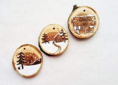 Wooden original Christmas decor for Christmas tree, wooden circles with ornament Christmas decoration, modern Christmas decor, Deer decor