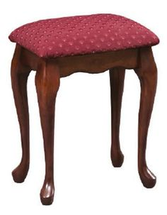 Amish Queen Anne Upholstered Stool Add the luxurious look and feel of the Queen Anne stool to your bedroom furniture collection. Great to use at a vanity table. Choose wood, stain and upholstery.