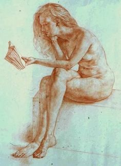 Reading and Art: Ted Seth Jacobs Ted, Woman Reading, Erotic Art, Good Books, Statue, Portrait, Illustration, Figure Drawings, Figurative