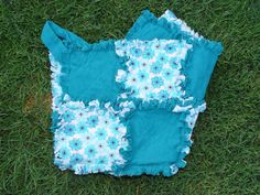 Teal Flower Security Blanket Ragged Quilts  Ready to by AuntBugs, $18.00