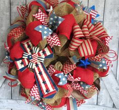 Patriotic Deco Mesh Wreath July 4th Wreath by FestivalofWreaths, $123.00