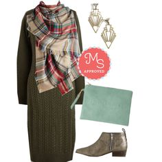 In this outfit: Plait the Lead Dress, Willamette for the Weekend Scarf, Deco Diva Earrings, Bonjour Couture Bag, Serene Bootie