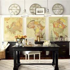 oude wereldkaarten als schilderrij